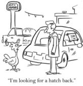 Chicken has gone shopping for a car — Stock Photo