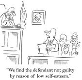 Jury gives the defendant a break for lacking self esteem — Stock Photo