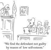 Jury gives the defendant a break for lacking self esteem — Stock Photo