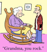 Grandson is impressed by his grandmother's rocking — Stock Photo