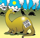 Expiration date on dinosaur's back about going extinct — Stock Photo