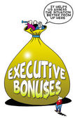Executive bonuses lift up the manager — Stock Photo