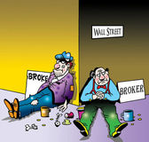 Broke and broker on Wall Street corner — Stockfoto