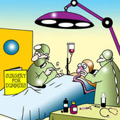 Surgeon uses Surgery for Dummies in operantion — Foto Stock