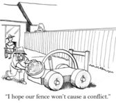 I hope our fence does not offend — Stock Photo