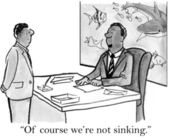 Executive dispels his workers concern about sinking — ストック写真