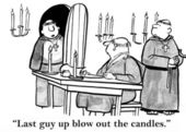 Blow candles out in monastery — Zdjęcie stockowe