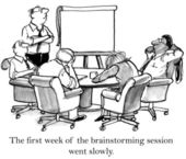 The executives cannot stay awake when brainstorming — Foto Stock