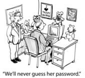 We'll never guess her password if it's a bear — Stok fotoğraf
