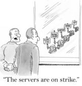 The servers are on strike — Stock Photo