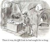O código qr foi perdido em uma caverna — Foto Stock