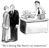 Executive ist eine menge faxe senden — Stockfoto