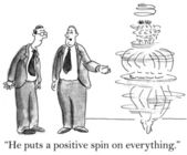 Executive points out a spinning manager — Foto de Stock