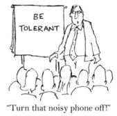 Speaker wants the noisy phone turned off — Stok fotoğraf