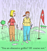 Women are obsessive golfers - playing in the rain — Stock Photo