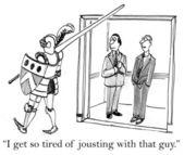 Un gérant aime à être en conflit avec un autre — Photo
