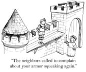 The neighbors don't like the knight making noise — Stock Photo