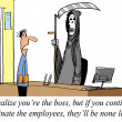 Boss is terminating too many employees, none are left. - Lizenzfreies Foto