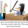 Accounting is a tough department, you may need a shotgun to get - Stock Photo