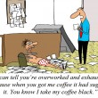 Worker is overworked and exhausted and got his boss's coffee wro - 图库照片