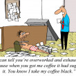 Worker is overworked and exhausted and got his boss's coffee wro - Stock Photo