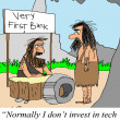 Caveman considers the wheel a tech stock — Stock Photo