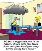 Wait until black cloud goes away before raise — Stock Photo