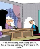 I'm decreasing your salary by 65 percent — Stock Photo