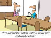 Water weakens the effect of dry coffee — Stock Photo