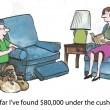 Money under cushions — Stock Photo