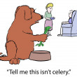 Dog does not like celery food — Stock Photo #31448827