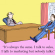 I talk to sales and I talk to marketing — Stock Photo