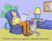 Gato dijo muebles inflables fue un error — Foto de Stock