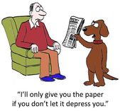 Dog brings in depressing paper — Stock Photo