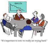 We echt proberen hard ondanks verkoop — Stockfoto