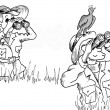 Cartoon illustration. Woman looks at bird who looks at other bird — ストック写真