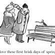 Cartoon illustration. Brisk spring day — Foto de Stock