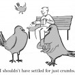 Cartoon illustration. Bird wanted it all — Stock Photo