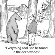 Cartoon illustration. Bear tells man the cool stuff in the woods — Stock Photo