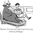 Cartoon illustration. Bull is having problems with matador therapist — Stock Photo #32548373