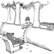 Cartoon illustration. Bear is blocked from tv by pipe — Stock Photo