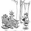 Cartoon illustration. Non talking animals are in deep woods — ストック写真