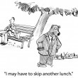 Cartoon illustration. Bear wants to bring lunch — Stock Photo