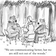Cartoon illustration. Bears want to communicate better as team — Stock Photo