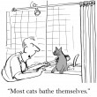Cartoon illustration. Most cats bathe themselves. — Stock Photo