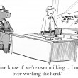 Cartoon illustration. Keep me informed of the herd mood — Stock Photo