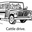 Cartoon illustration. Cattle in the bus — Stock Photo