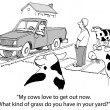 Cartoon illustration. Neighbor surprised the cows on the lawn — Foto de Stock