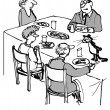 Cartoon illustration. People eat at the table — Stock Photo