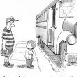 Foto de Stock  : Cartoon illustration. Father escorted boy to school